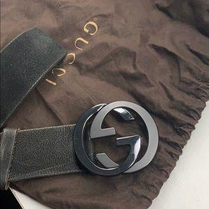 black authentic Gucci Suede Belt